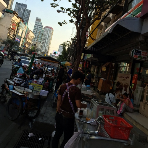 thailand-only-street-food-stall-dirty-drama-no-footpath-zebra-cross-thonglor-taxi-road
