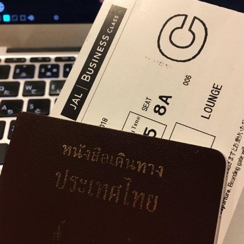 jal-japan-airlines-business-class-review-sakura-lounge-passport-thai-boarding-pass