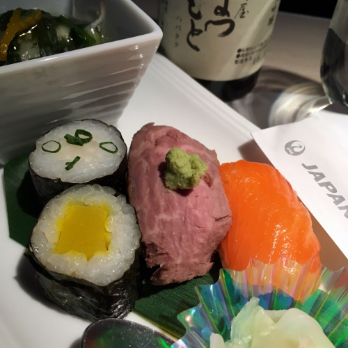 jal-japan-airlines-skysuite-3-2-vs-business-class-review-sushi-salmon-sake-wagyu-beef
