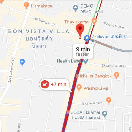 google-maps-red-traffic-donki-hote-mall-thonglor-review-queue-open-shop-imported-japan-24-hours