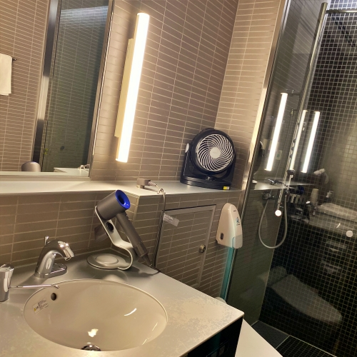 ana-business-class-staggered-review-iphone-11-pro-787-9-tokyo-haneda-lounge-showerroom
