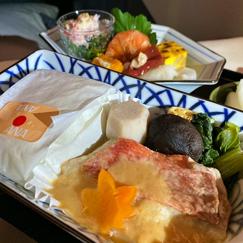 ana-business-class-staggered-review-iphone-11-pro-787-9-tokyo-haneda-miso-gindara