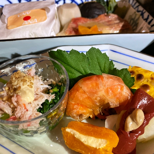 ana-business-class-staggered-review-iphone-11-pro-787-9-tokyo-haneda-shrimp-set