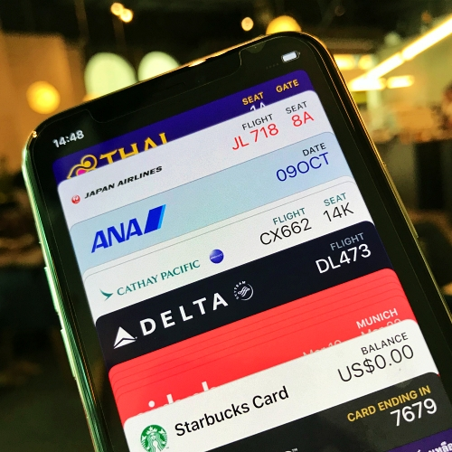 apple-pay-wallet-airlines-ticket-review-iphone-11-pro-max-starbucks-card-tg-first-class-jal-ana-business-cathay-delta